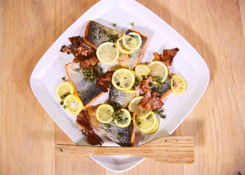 Pan Fried Trout with Caper, Lemon and Crispy Sliced Pancetta